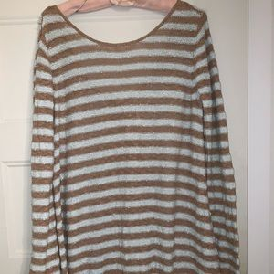 Free People Tops - Free People Tan and Blue Long Low Back Sweater
